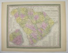 South Carolina Map Original Antique 1855 Mitchell Charleston SC County State Map Historic Map Southern Wedding Gift Collectable Map by OldMapsandPrints on Etsy