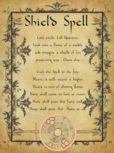 Shield Spell for Homemade Halloween Spell book. Wiccan Witch, Magick Spells, Wicca Witchcraft, Healing Spells, Halloween Spell Book, Halloween Spells, Tarot, Charmed Book Of Shadows, Protection Spells