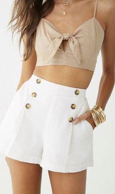 Cotton on outfits - Button Accent Shorts – Cotton on outfits Summer Shorts Outfits, Short Outfits, Trendy Outfits, Cool Outfits, Modest Shorts, Long Shorts, Boho Shorts Outfit, Shorts Outfits Women, Older Women Fashion