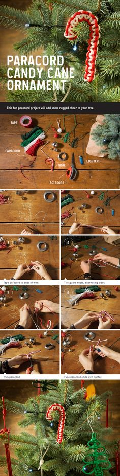 Outdoorsy Holiday Décor How To: Paracord Candy Cane Ornament