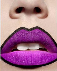 Dramatic black lined bright purple matte lips #lipstick #makeup - This is what I'm devoting my afternoon to.