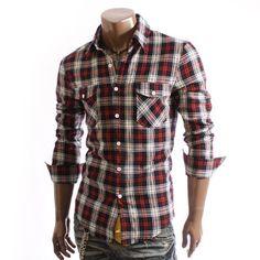 Doublju Mens Casual Checked Slim Shirts(C3K)