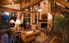 Great room ideas are often the main focal point of timber frame homes. Many envision their home to be open and spacious by including a good size room that Colorado Mountain Homes, Colorado Mountains, Custom Home Builders, Custom Homes, Elegant Living Room, Timber Frame Homes, Building Companies, Rustic Elegance, Chalets