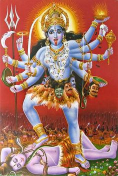 Goddess Kali standing on Lord Shiva Hindu Poster Kali Goddess, Indian Goddess, Mother Goddess, Saraswati Goddess, Kali Tattoo, Maa Kali Images, Durga Images, Mother Kali, Ganesh