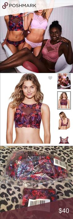 VS pink burgundy bra & panty set THIS IS MY LOWEST PRICE. burgundy floral push bra in L4 36D-36DD. Panty is cheeky size large. Brand new. PINK Victoria's Secret Intimates & Sleepwear Panties