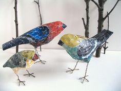 Paper Mache Bird, Handmade Bird Sculpture, Woodland Decor, Whimsical Creature, Bird Lover Gift, One of a Kind Original Art, Unique Gift Meet