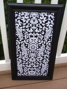 Framed Magnetic Magnet Bulletin Board, Makeup Cosmetic Wedding, Nursery, Escort Cards - Black & White Damask Print with Seven Jewel Magnets. $39.00, via Etsy.