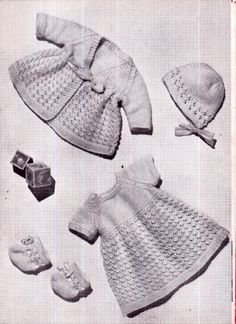 Genuine Vintage 1950s 'A Daintily patterned Outfit' Pretty Lacy Girl Dolls  Wardrobe Outfit Set Knitting Pattern PDF