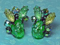 Vintage Schiaparelli Clip Earrings Iridescent Lava Glass; AB Rhinestones