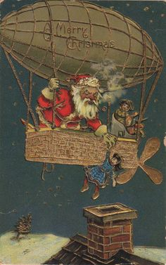 1908 Santa postcard: As the 1800s gave way to the 1900s, many Americans felt like perhaps Santa Claus needed a new way of getting from house to house.    Read more: http://blogs.smithsonianmag.com/paleofuture/2012/12/santa-claus-builds-a-flying-machine/#ixzz2G4Cpn4Bh   Follow us: @SmithsonianMag on Twitter