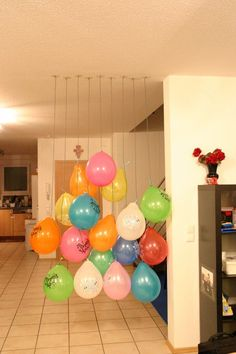 Wall o' Balloons was a huge hit for my two-year-old's birthday morning!  He was so excited!