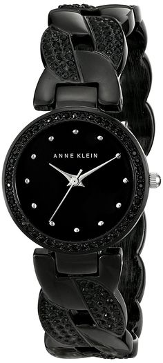 Anne Klein Women's AK/1833BKBK Swarovski Crystal-Accented Black Cuff Bangle Watch ** Click image to review more details.