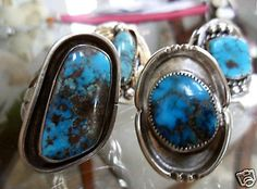 Large-Bisbee-Turquoise-Ring-Old-Pawn-Native-American-Sterling-Silver-Sz-11
