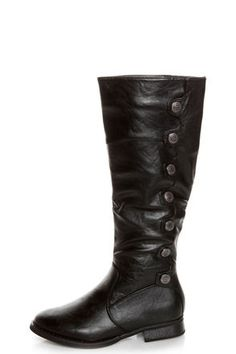 Rina 12 Black Buttoned and Scalloped Riding Boots - Crinkled vegan leather boots have scalloped sides topped with decorative gunmetal buttons.