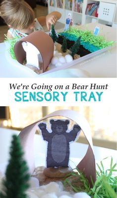 We're Going on a Bear Hunt Sensory Tray | Mama.Papa.Bubba.  // use a golf tee on the back of the puppets to make them stand up!