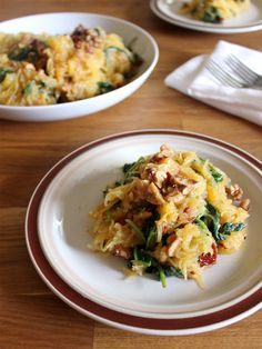 Roasted Spaghetti Squash with Dried Cherries and Spinach