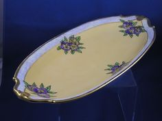 """Bernardaud & Co. (B&Co.) Limoges Arts & Crafts Pansy Motif Serving Tray (Signed """"E.G. Dougall""""/c.1918-1930)"""