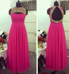 Pink and gold cut out anarkali