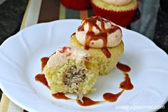 BBQ cupcakes - Cornbread cupcakes stuffed with BBQ pulled pork, frosted with pimento and cheese and topped with BBQ sauce. *See Savorrrry - Sweet & Spicy Root Beer BBQ Pork.