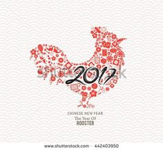 Chinese New Year 2017. The year of rooster icons elements.