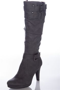 For Whom the Bells Stroll Ruched High Heel Boots - Gray from Forever Link at Lucky 21 Lucky 21