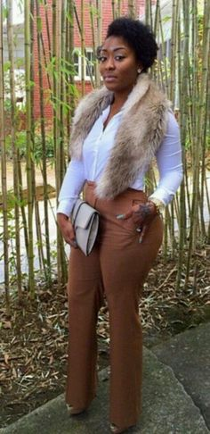 fall in love with this outfit fitted plants and fur white shirt good for play or work fashion Work Fashion, I Love Fashion, Curvy Fashion, Passion For Fashion, Plus Size Fashion, Fashion Looks, Style Fashion, Fall Outfits, Cute Outfits