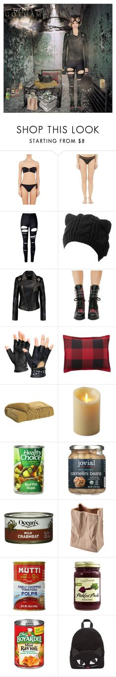 """Gotham : Selina Kyle"" by thymagine ❤ liked on Polyvore featuring Eres, WithChic, Versace, Current Mood, Pottery Barn, Luminara, Rosenthal and Lulu Guinness"