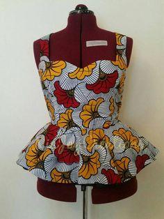 African Clothing: Moe Fall African Print Peplum by NiaJoyCreations Latest Ankara Dresses, Ankara Dress Styles, African Dresses For Women, African Print Dresses, African Attire, African Prints, African Inspired Fashion, African Print Fashion, Africa Fashion
