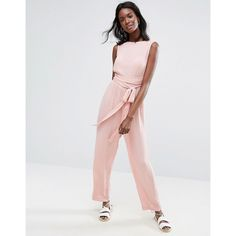 ASOS Jumpsuit in Crinkle with Waist Wrap Tie (78 BAM) ❤ liked on Polyvore featuring jumpsuits, pink, prom jumpsuit, pink jumpsuits, party jumpsuits, asos jumpsuit and wrap jumpsuit