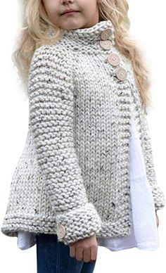 Toddler Baby Girls Autumn Winter Clothes Button Knitted Sweater Cardigan Cloak Warm Thick Coat Years beige *** You can find out more details at the link of the image. (This is an affiliate link) Baby Pullover, Baby Cardigan, Sweater Cardigan, Toddler Cardigan, Girls Poncho, Chunky Cardigan, Open Cardigan, Knitting For Kids, Baby Knitting Patterns