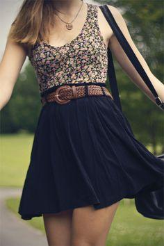 black skirt, brown belt, floral shirt