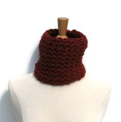 Orange Red Rust Spice Lion Brand Wool Ease Thick and Quick Double Knit Neckwarmer by ArtTx, $10.00