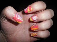 Marbled nails. Will be a long time before I do this again. Pain in the a**