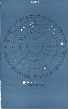 Vintage Astronomy Star Constellation Map 1 and 2 - 1946 Textbook Page via Etsy