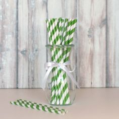 Striped Party Straws - Emerald Green (Color of the Year!) shoptomkat.com