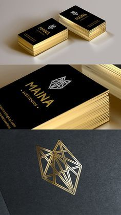 Sleek Black And Gold Foil Business Card Design