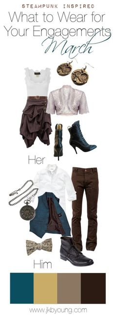 Steampunk/semi-formal inspired Engagement 'What to Wear' for the month of March