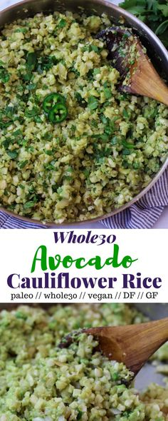 An easy side dish, this Avocado Cauliflower Rice takes riced cauliflower and adds smashed avocado & jalapeño to kick this paleo and staple up a notch - Eat the Gains via Healthy Food & Fitness Avocado Recipes, Rice Recipes, Veggie Recipes, Vegetarian Recipes, Cooking Recipes, Healthy Recipes, Dishes Recipes, Cooking Ideas, Cauliflowers