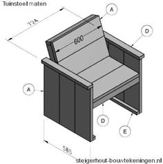 Doe het zelf bouwtekening, gratis voorbeeld voor tuinstoelen van steigerhout.