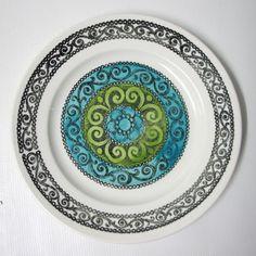 Kathie Winkle rare blue AGINCOURT DINNER PLATE 24cm 70s retro Broadhurst Vintage. 141826586665