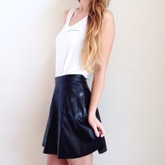 "| new | vegan leather skater skirt offers welcome new with tag size large vegan leather skater skirt with back exposed zipper. can also fit a medium. waist: 14"", length from edge of waist straight down: 17"".  •670854•  website: XOmandysue.com  sign up for surprise, stylist-curated monthly looks based on your style! use code first25 to get your first outfit for just $25!  instagram: XOmandysue Skirts Circle & Skater"