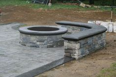 diy firepit Cozy Outdoor Fire Pit Seating Design Ideas for Backyard No longer will a wood deck with a grill do for many homeowners wanting to enjoy their backyards. These days, accessorizi Concrete Patios, Concrete Patio Designs, Cement Patio, Concrete Fire Pits, Backyard Patio Designs, Patio Ideas, Backyard Seating, Firepit Ideas, Colored Concrete Patio