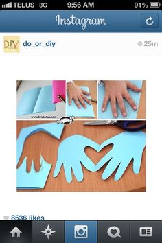 Cute heart crafts with hands Cute Kids Crafts, K Crafts, Craft Activities For Kids, Crafts For Teens, Diy Craft Projects, Projects For Kids, Crafts To Make, Easy Crafts, Arts And Crafts