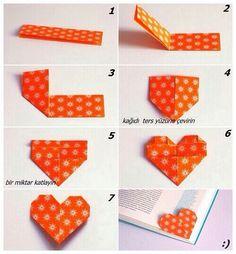 Oragami heart bookmark Easy to do!