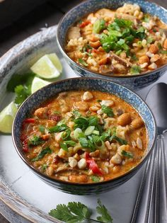 Vegetarian Thai Peanut Soup from http://SoupAddict.com. Delectable Thai spices and creamy peanut butter, plus shiitake mushrooms and ramen noodles, flavor this hearty soup.