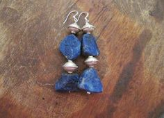 Raw Lapis Lazuli Earrings Dangle Beaded Blue by BlueMargarita