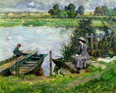 Albert Chevallier Tayler - The Thames at Benson 1912