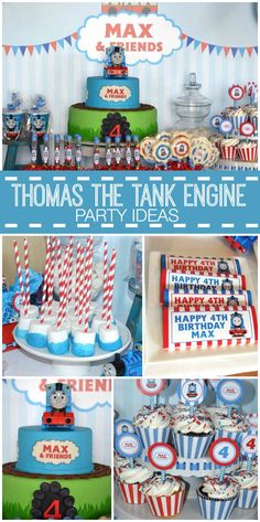 "Thomas the Train / Birthday ""Max & Friends Birthday Party"" A Thomas the Tank Engine boy birthday party with chocolate truffles, marshmallow pops and cupcakes! See party planning ideas at CatchMyPa Thomas Birthday Parties, Thomas The Train Birthday Party, Happy 4th Birthday, Trains Birthday Party, Boy Birthday, Cake Birthday, Train Party, Car Party, Birthday Ideas"