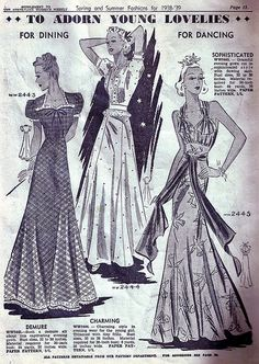 Australian Women's Weekly Spring & Summer Fashions for 1938-39. #vintage #1930s #fashion #illustrations