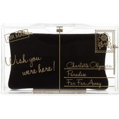 Charlotte Olympia Pandora Wish You Were Here Box Clutch (1 025 AUD) ❤ liked on Polyvore featuring bags, handbags, clutches, purses, bolsas, retro handbags, black pouch, black box clutch, black hand bags and black clutches